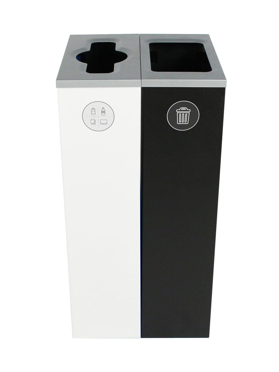 20 Gallon Spectrum Slim Dual Trash Can & Recycle Bin White/Black 8107097-24