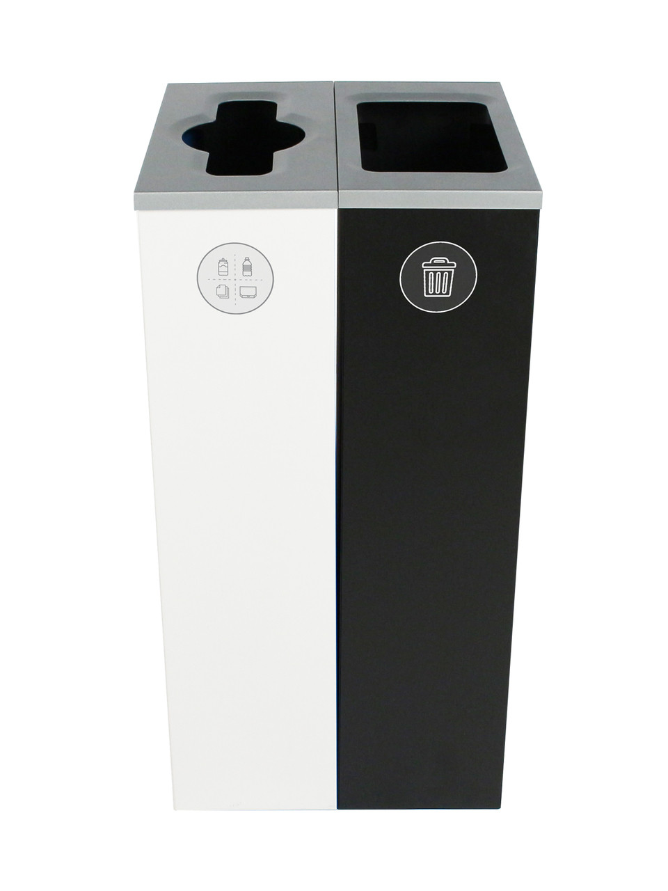 20 Gallon Spectrum Slim Dual Trash Can & Recycle Bin White/Black 8107097-24