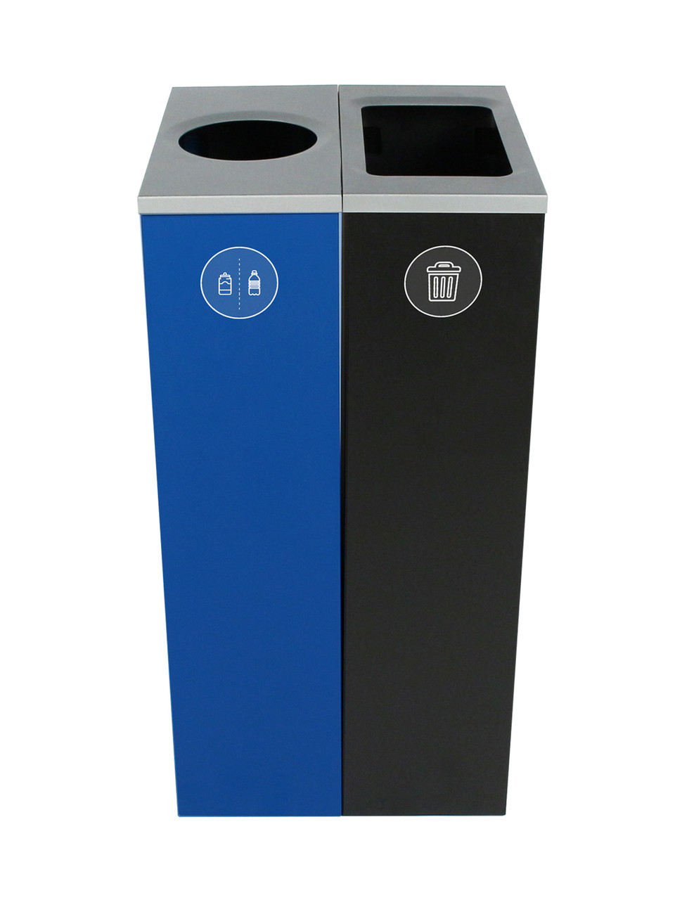 20 Gallon Spectrum Slim Dual Trash Can & Recycle Bin Blue/Black 8107093-14