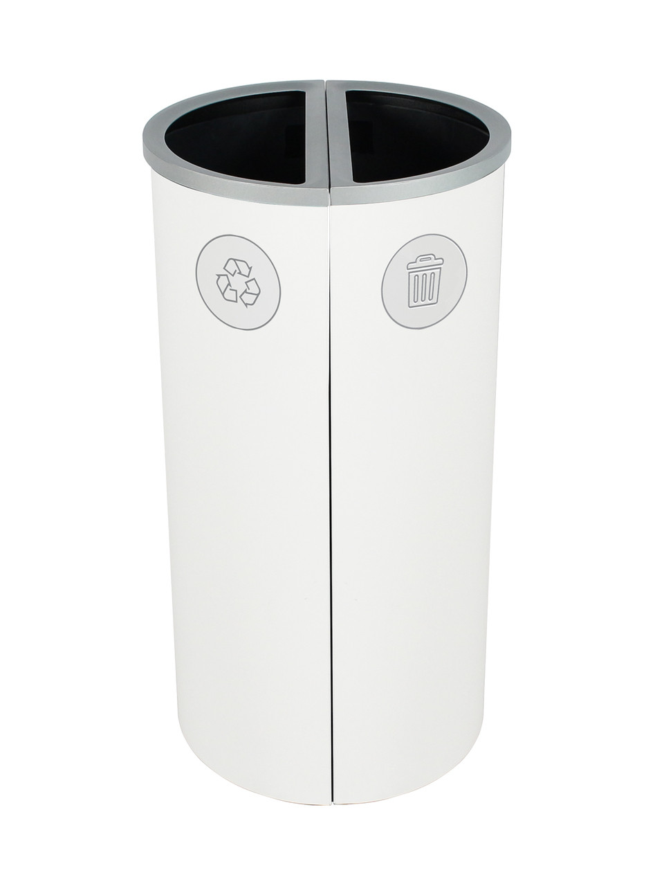 16 Gallon Spectrum Round Trash Can & Recycle Bin White 8107088-44