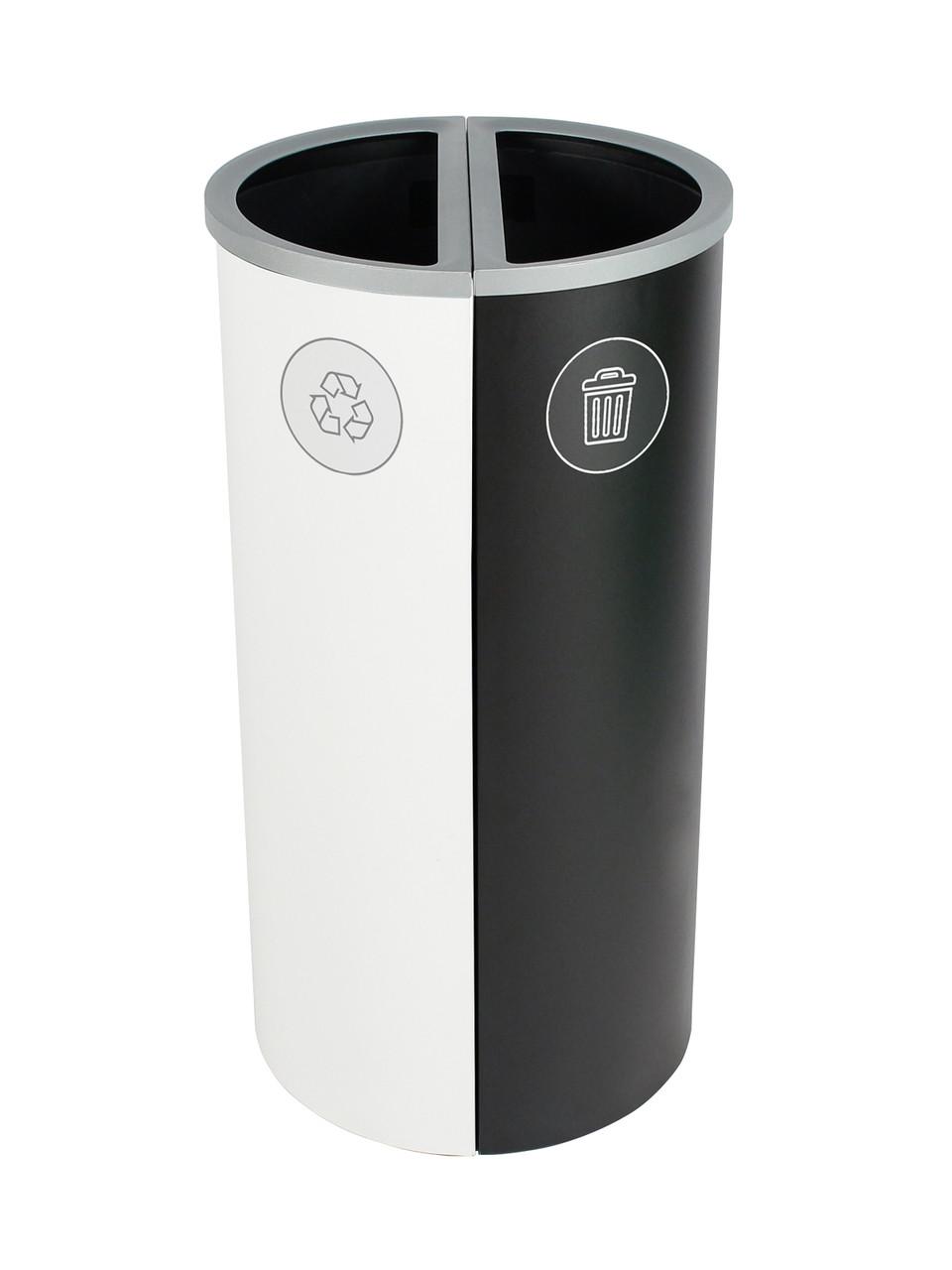 16 Gallon Spectrum Round Trash Can & Recycle Bin White/Black 8107087-44