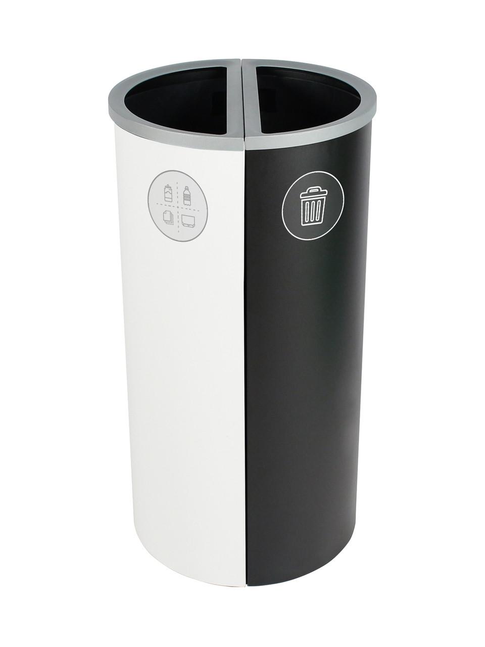 16 Gallon Spectrum Round Trash Can & Recycle Bin White/Black 8107086-24