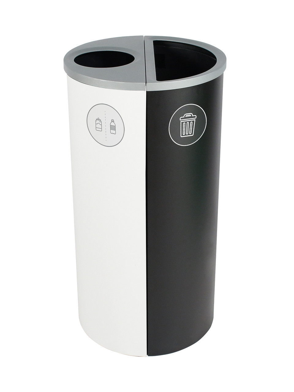 16 Gallon Spectrum Round Trash Can & Recycle Bin White/Black 8107085-14