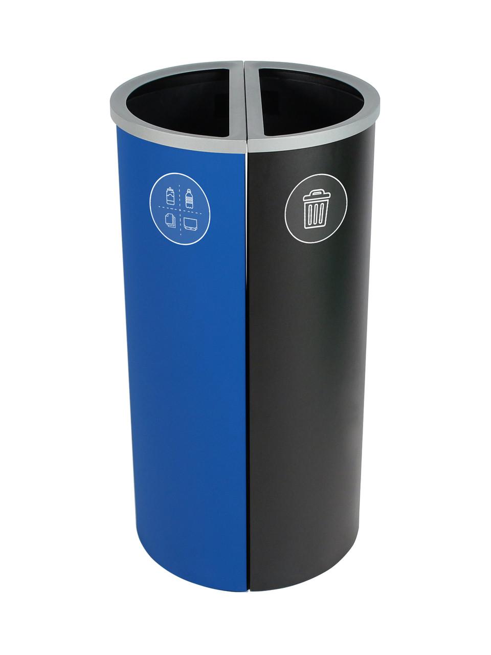 16 Gallon Spectrum Round Trash Can & Recycle Bin Blue/Black 8107083-24