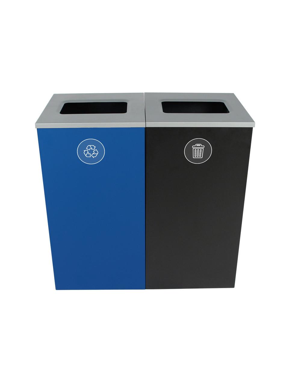48 Gallon Spectrum Cube Dual Trash Can & Recycle Bin Blue/Black 8107092-44