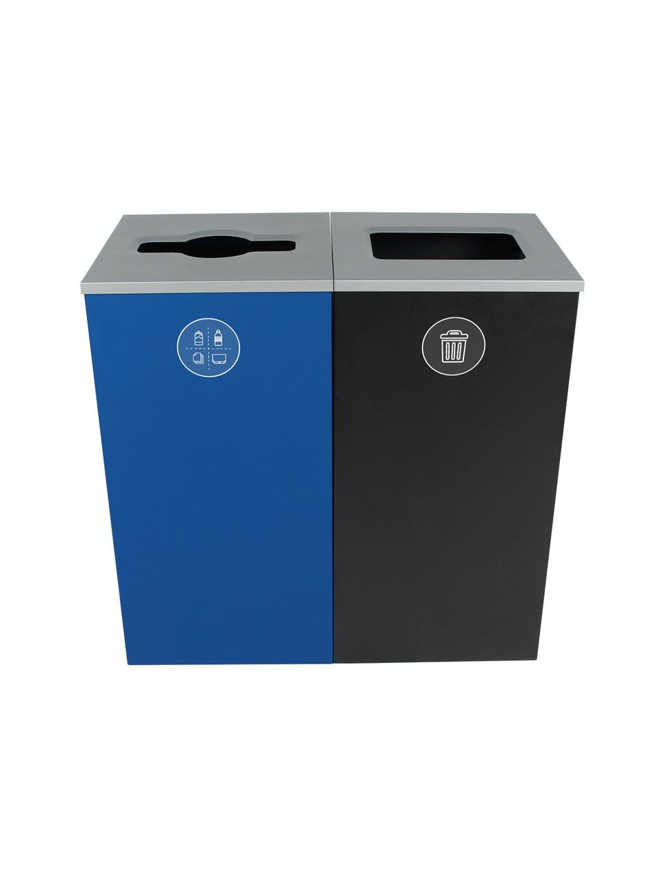 48 Gallon Spectrum Cube Dual Trash Can & Recycle Bin Blue/Black 8107091-24