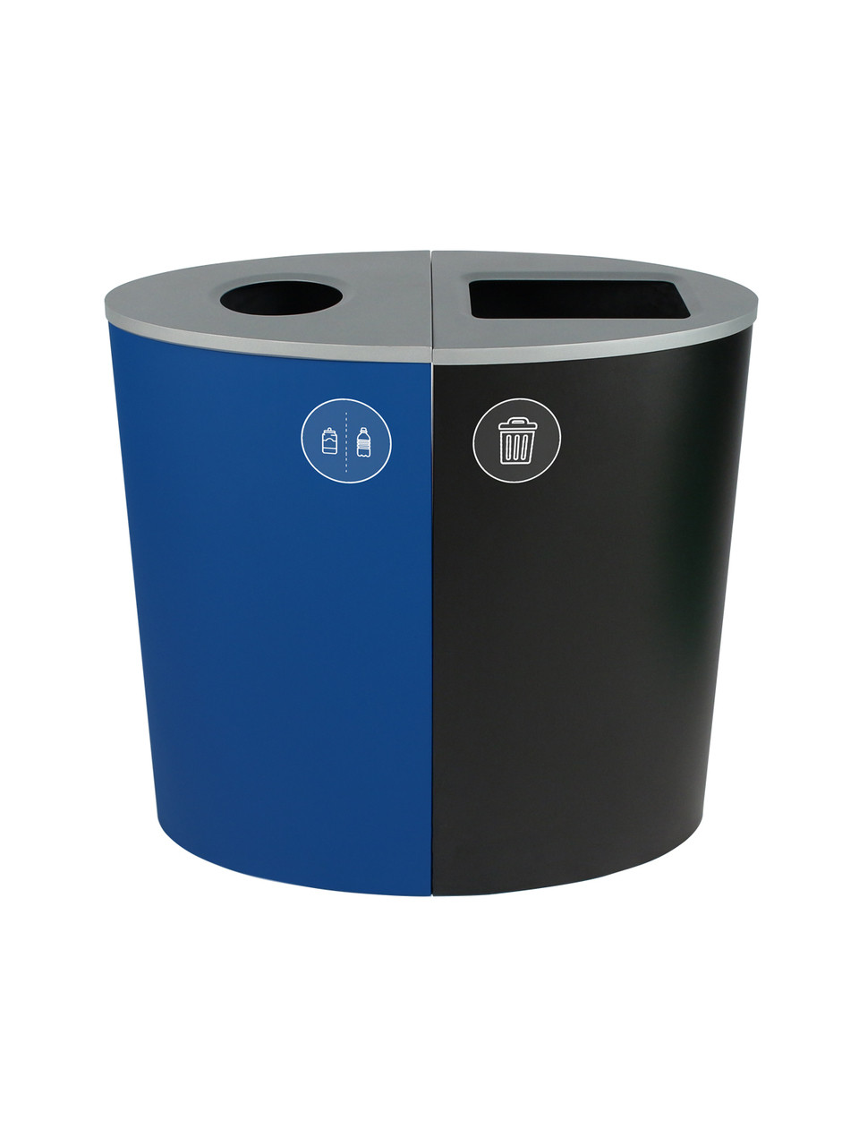 44 Gallon Spectrum Ellipse Dual Trash Can & Recycle Bin Blue/Black 8107074-14
