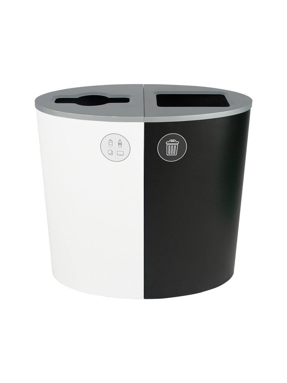 44 Gallon Spectrum Ellipse Dual Trash Can & Recycle Bin White/Black 8107078-24