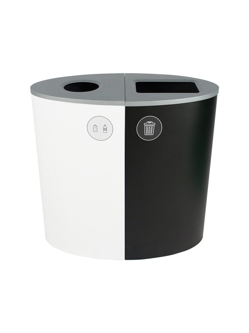 44 Gallon Spectrum Ellipse Dual Trash Can & Recycle Bin White/Black 8107077-14
