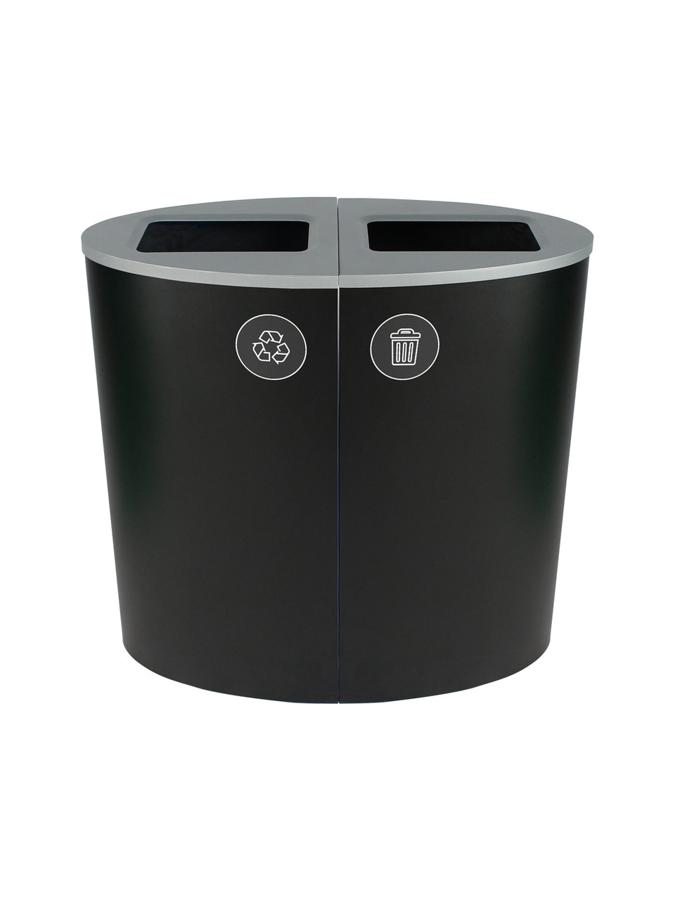 44 Gallon Spectrum Ellipse Dual Trash Can & Recycle Bin Black 8107081-44