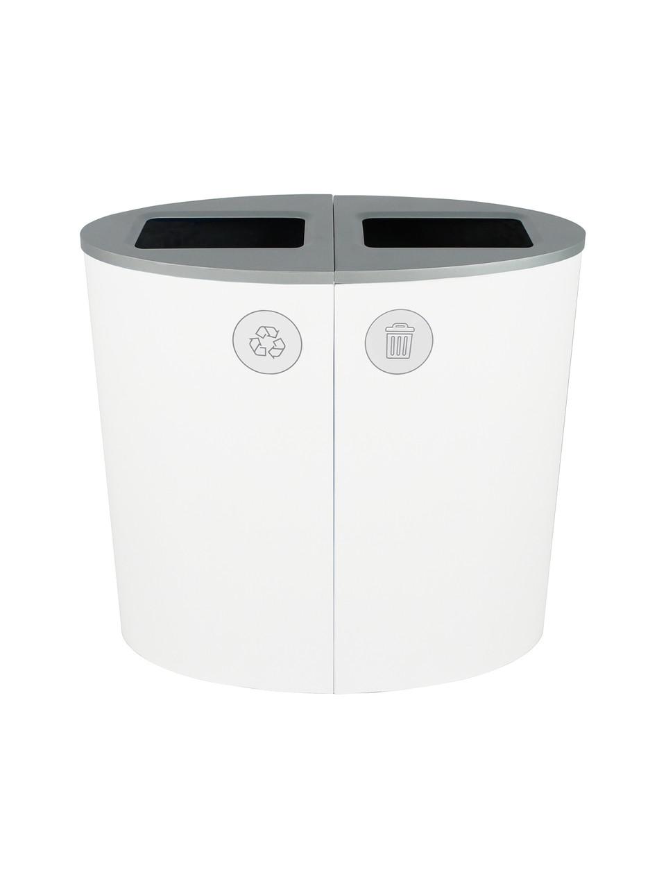 44 Gallon Spectrum Ellipse Dual Trash Can & Recycle Bin White 8107080-44