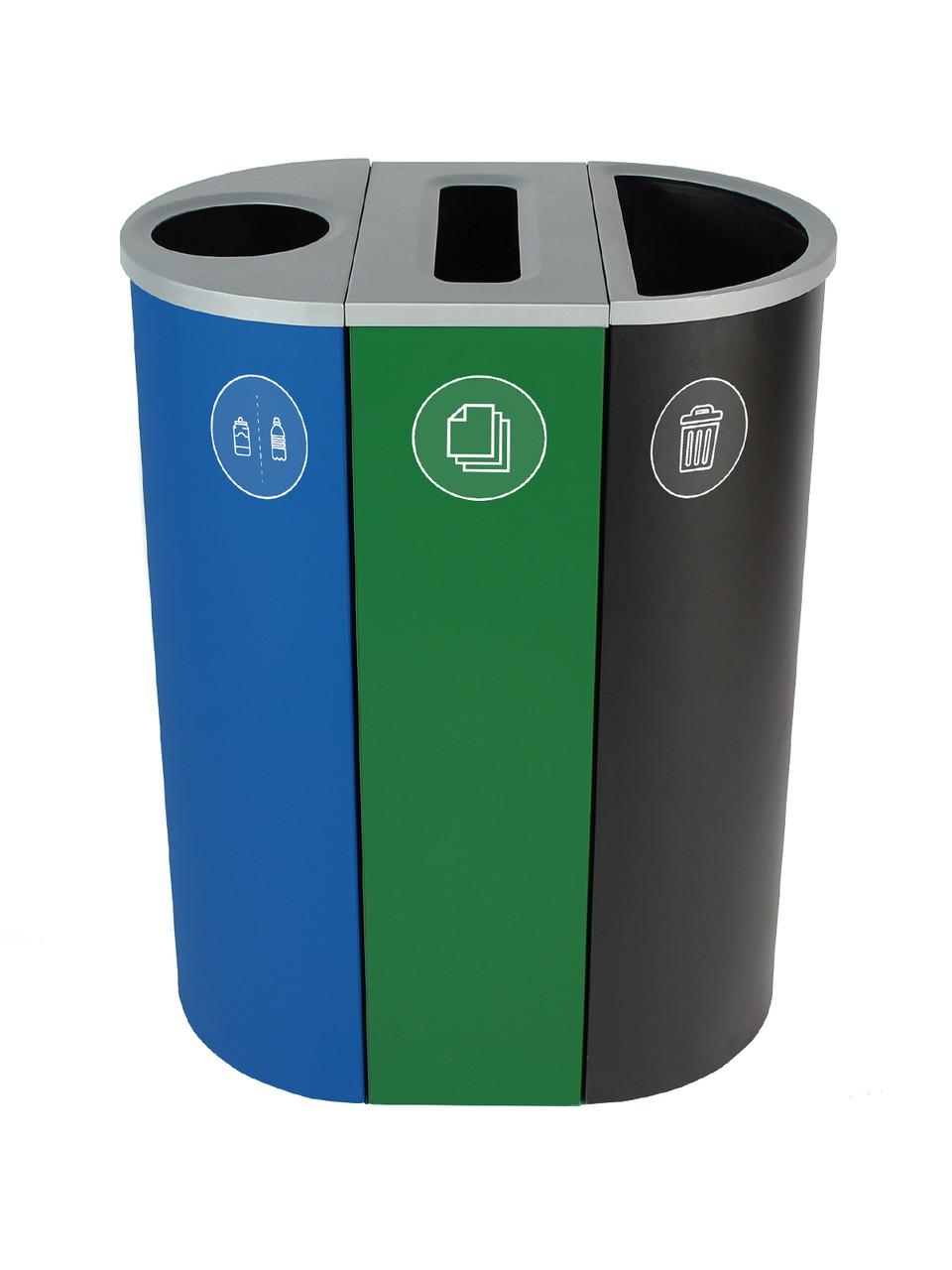 26 Gallon Spectrum Triple Recycling Station Blue/Green/Black 8107108-134