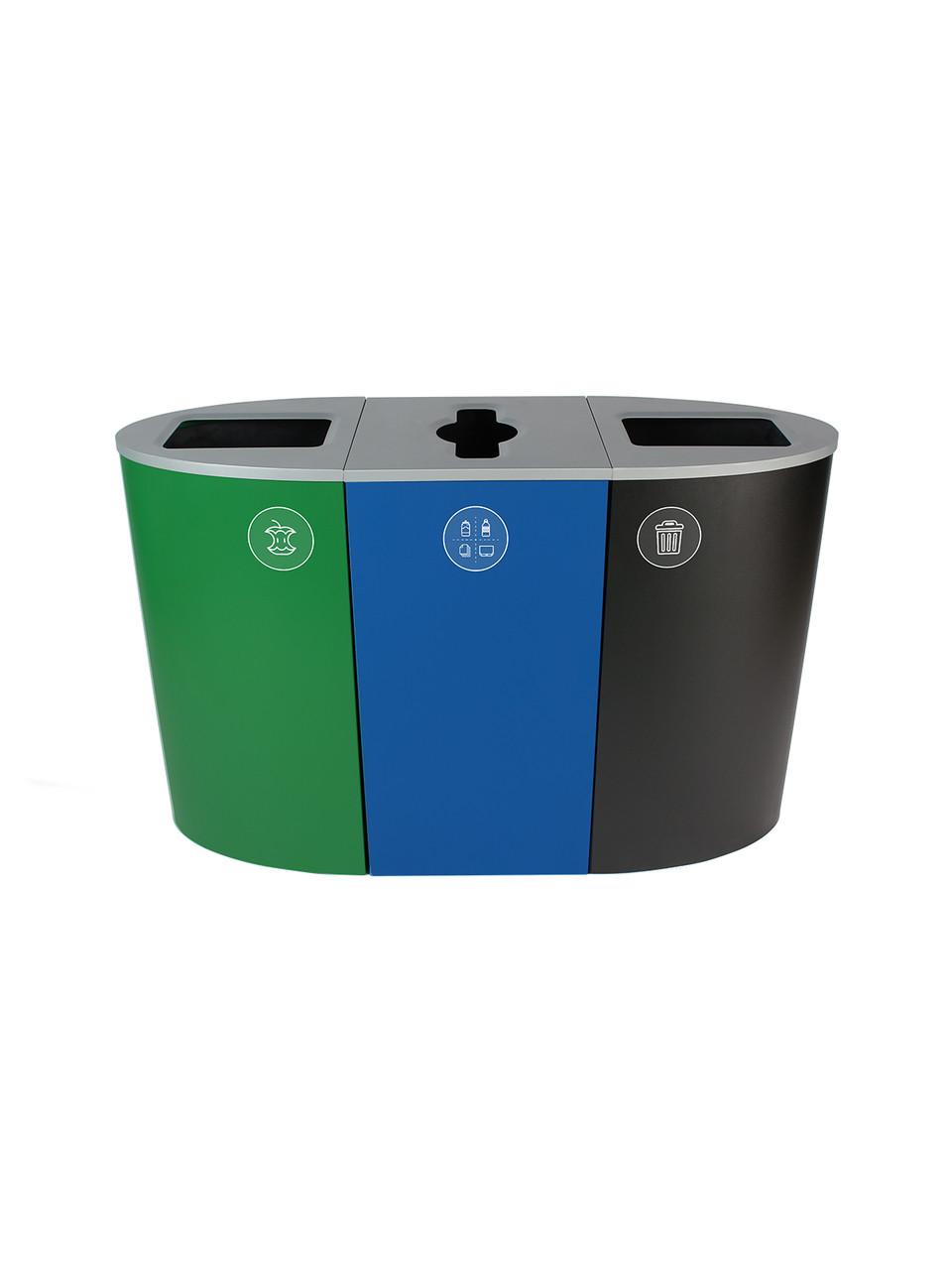 68 Gallon Spectrum Triple Recycling Station Green/Blue/Black 8107104-424