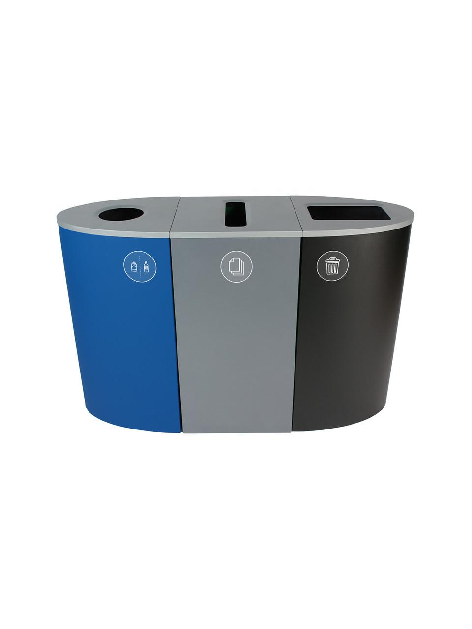 68 Gallon Spectrum Triple Recycling Station Blue/Gray/Black 8107102-134