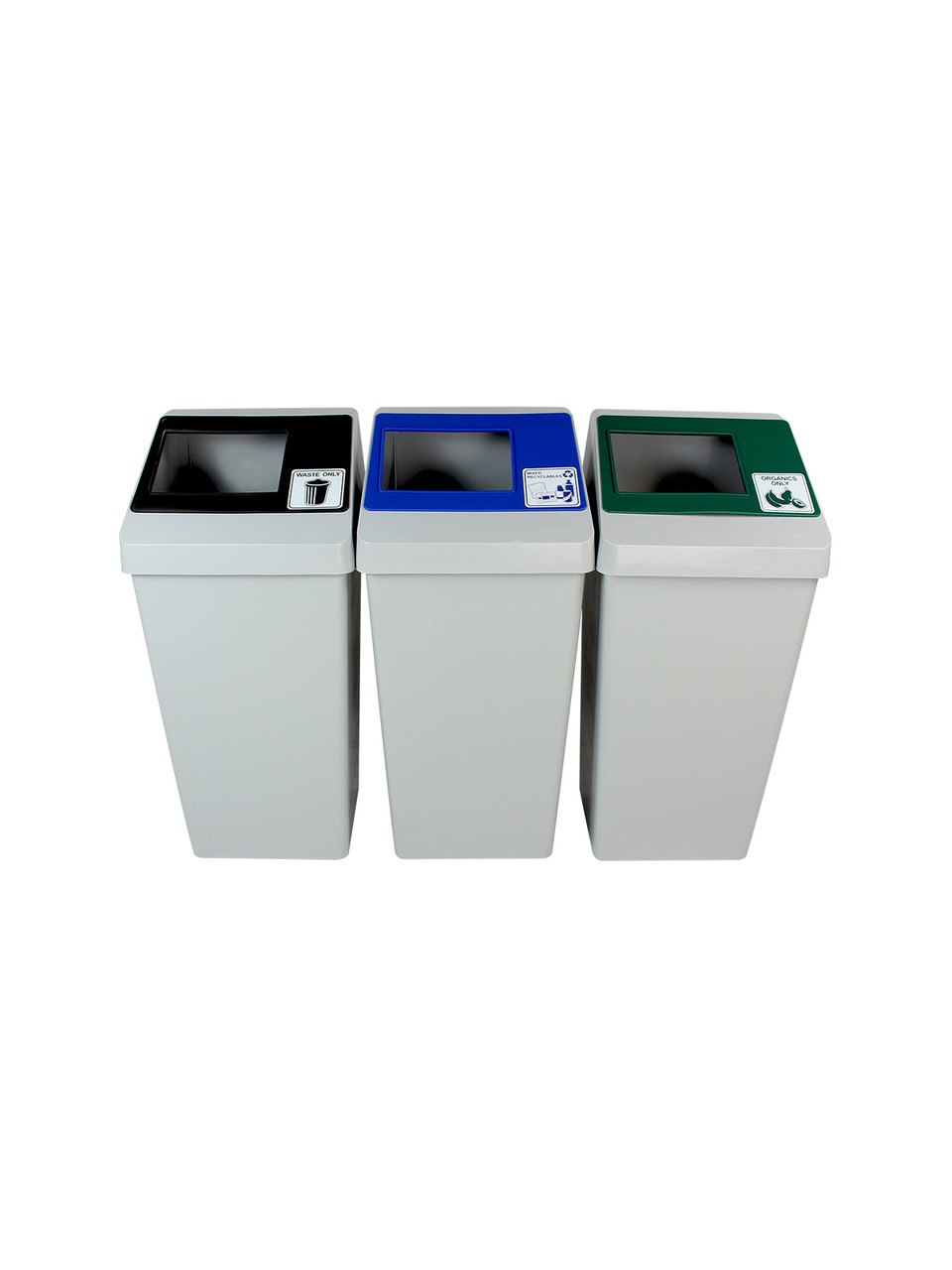 66 Gallon Smart Sort Triple 100853 (Waste Only, Mixed Recyclables, Organics Only)