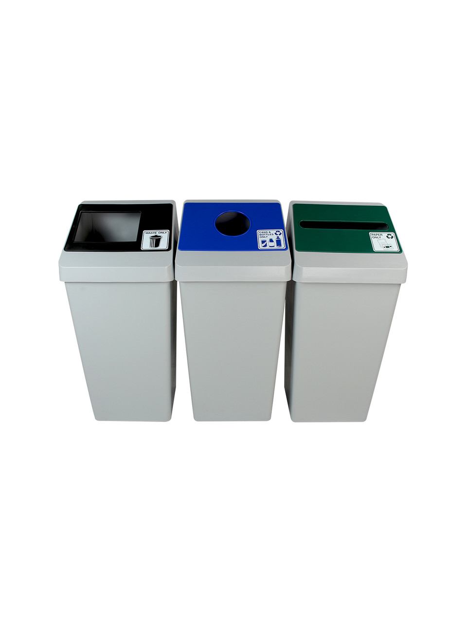 66 Gallon Smart Sort Triple 100854 (Waste Only, Cans&Bottles, Paper Only)