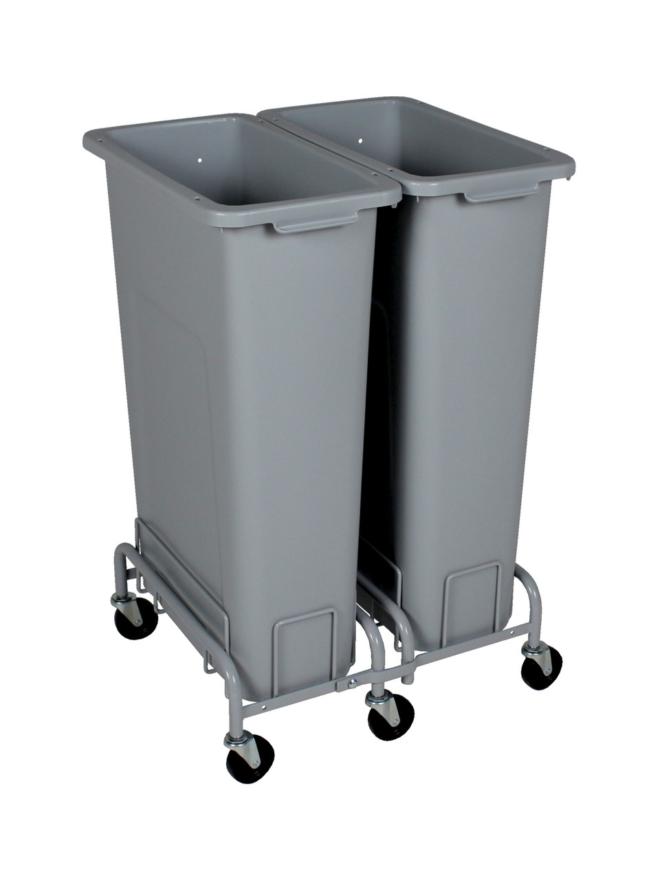 46 Gallon Plastic Skinny Trash Cans with Wheels Combo