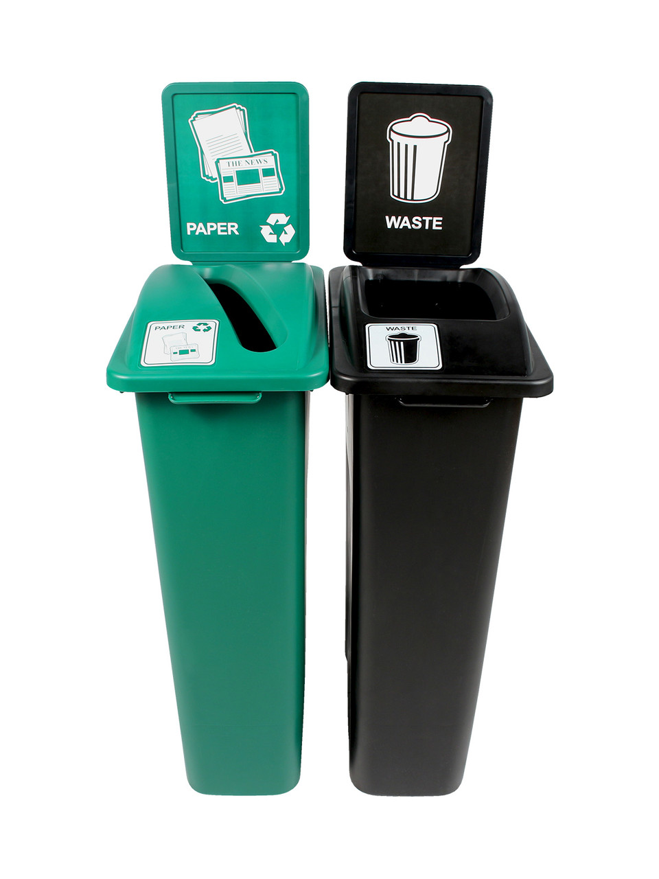 46 Gallon Simple Sort Skinny Trash Can Recycle Bin Combo 8106040-34 (Slot, Waste Openings)