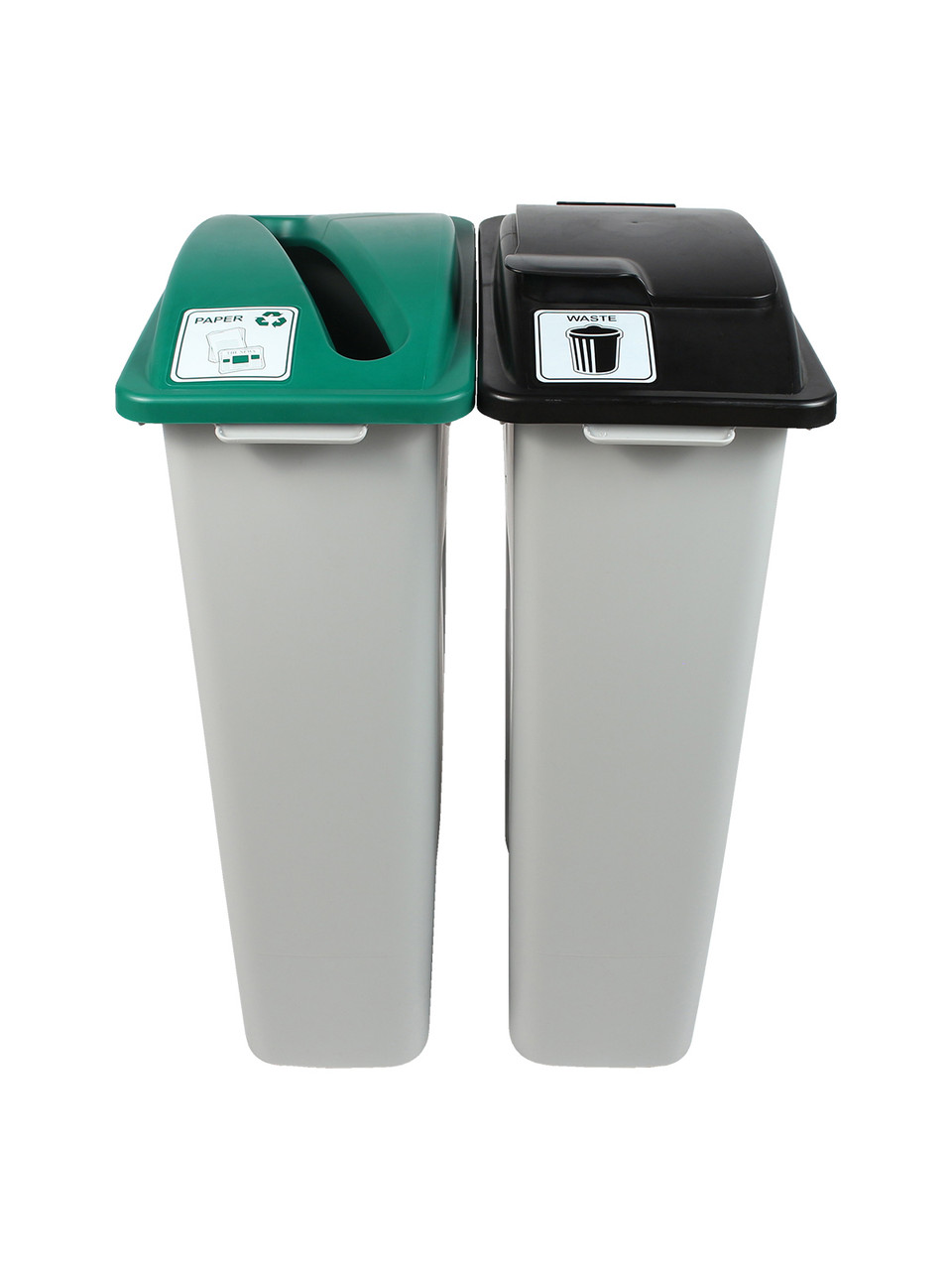 46 Gallon Simple Sort Skinny Trash Can Recycle Bin Combo 8105036-35 (Slot, Waste Lift Lid Openings)