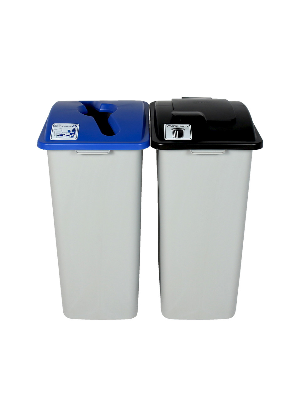64 Gallon Simple Sort XL Trash Can Recycle Bin Combo 8111023-25 (Mixed, Waste Lift Lid Openings)