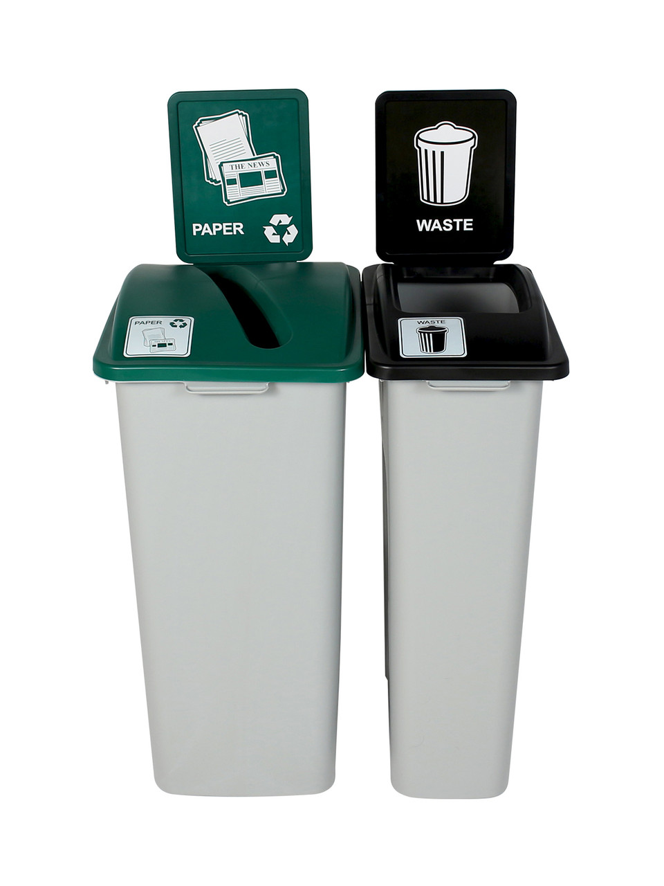 55 Gallon Simple Sort Trash Can Recycle Bin Combo 8111040-34 (Slot, Waste Openings)