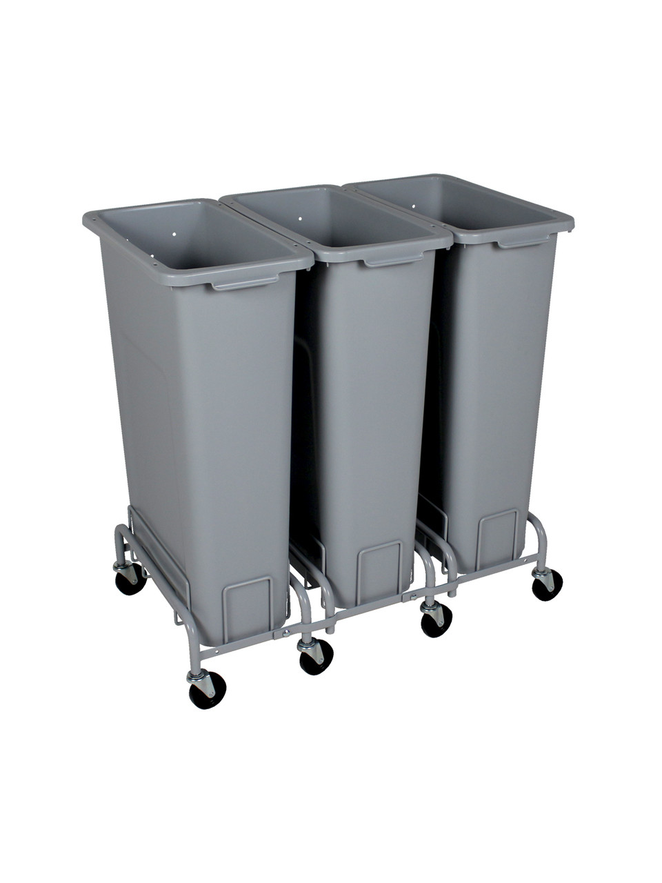 69 Gallon Plastic Skinny Trash Cans with Wheels Combo (4 Color Choices)