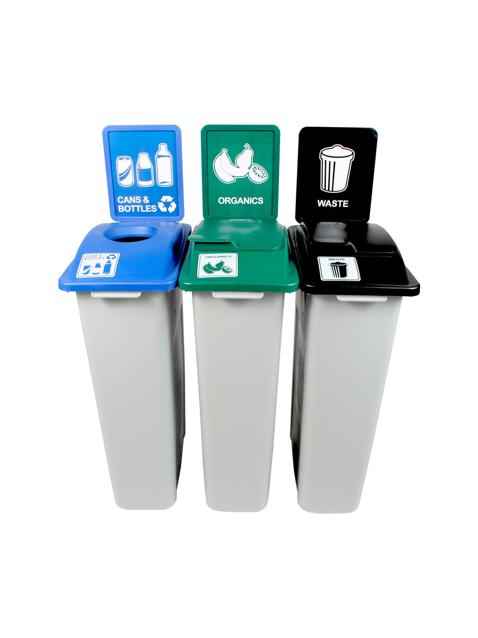 69 Gallon Simple Sort Skinny Recycling Center 8105070-155 (Cans, Organics Lift Lid, Waste Lift Lid)