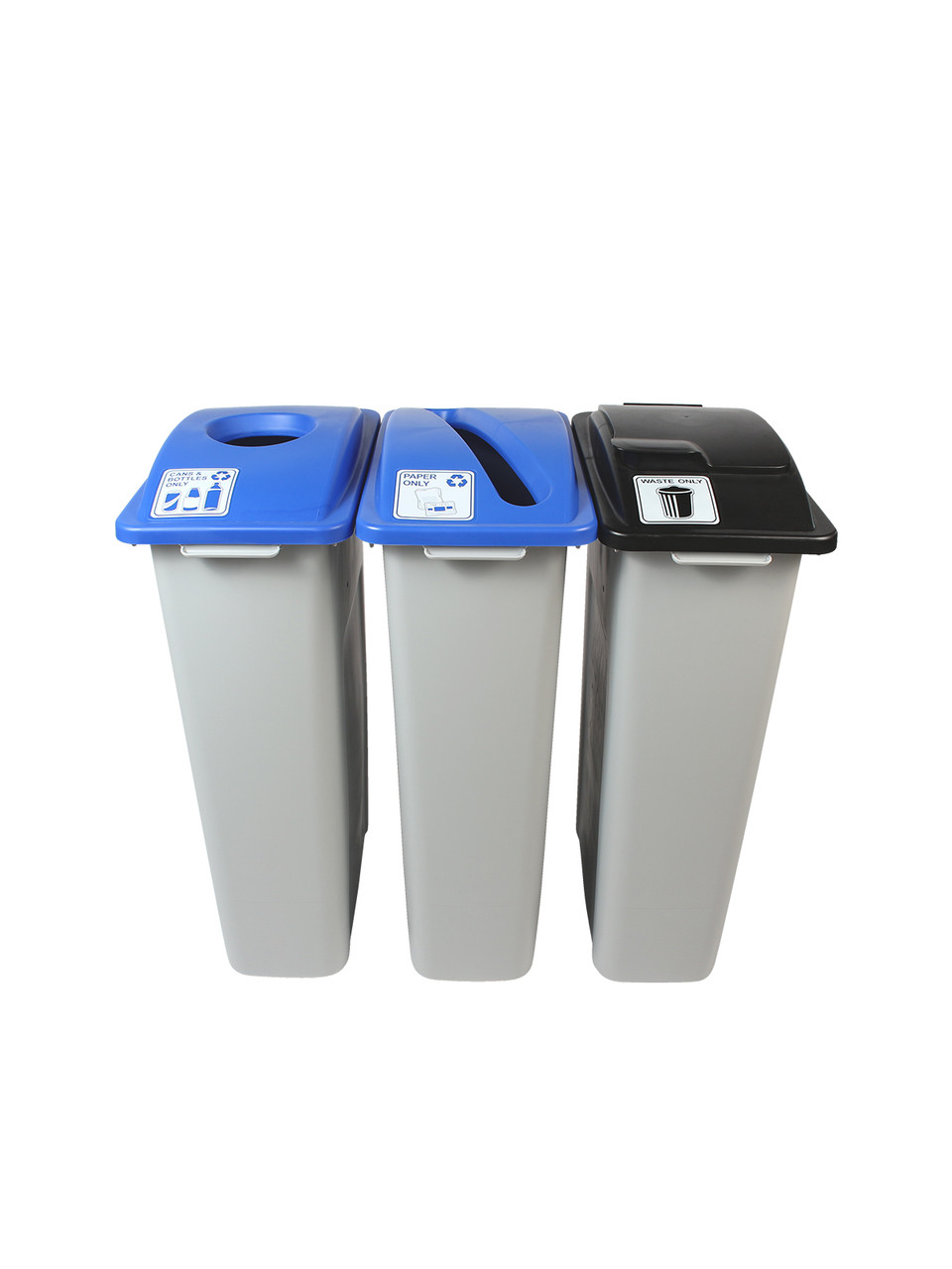 69 Gallon Simple Sort Skinny Recycle Bin Center 8105054-135 (Cans, Paper, Waste Lift Lid)