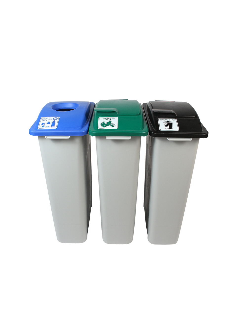 69 Gallon Simple Sort Skinny Recycle Bin Center 8105056-155 (Cans, Organics Lift Lid, Waste Lift Lid)