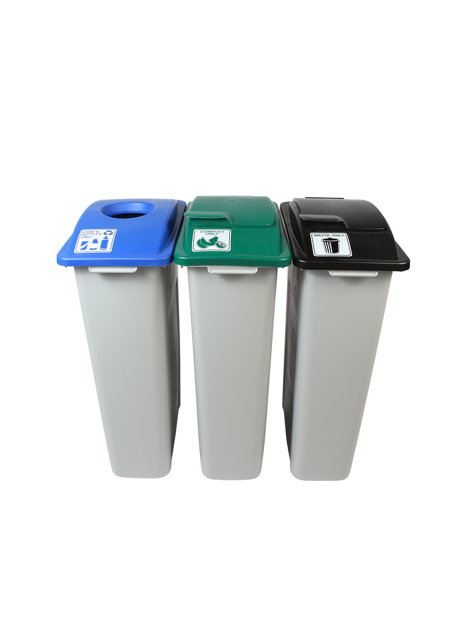 69 Gallon Simple Sort Skinny Recycle Bin Center 8105058-155 (Cans, Compost Lift Lid, Waste Lift Lid)