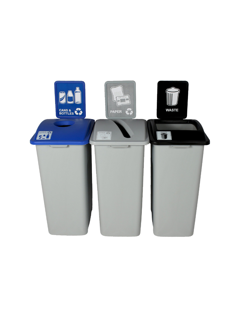 96 Gallon Simple Sort Skinny Recycling Center 8111058-134 (Circle, Paper, Waste)