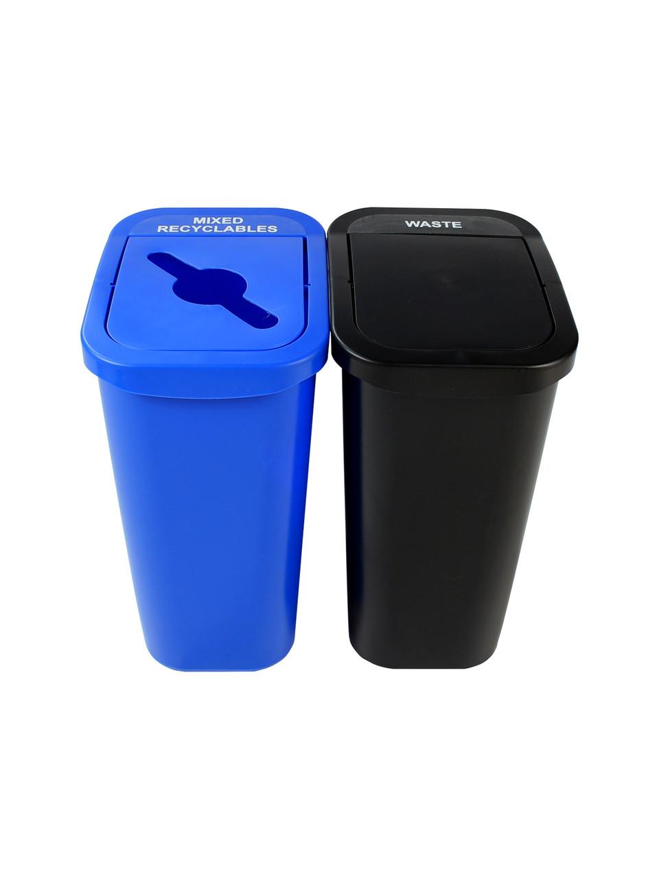 20 Gallon Billi Box Double Trash Can Recycle Bin Combo 8102021-24 (Mixed, Swing Openings)
