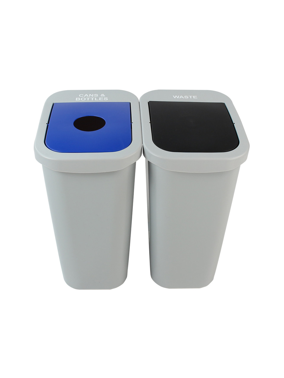 20 Gallon Billi Box Double Trash Can Recycle Bin Combo 8102025-14 (Cans, Waste Swing Lid)