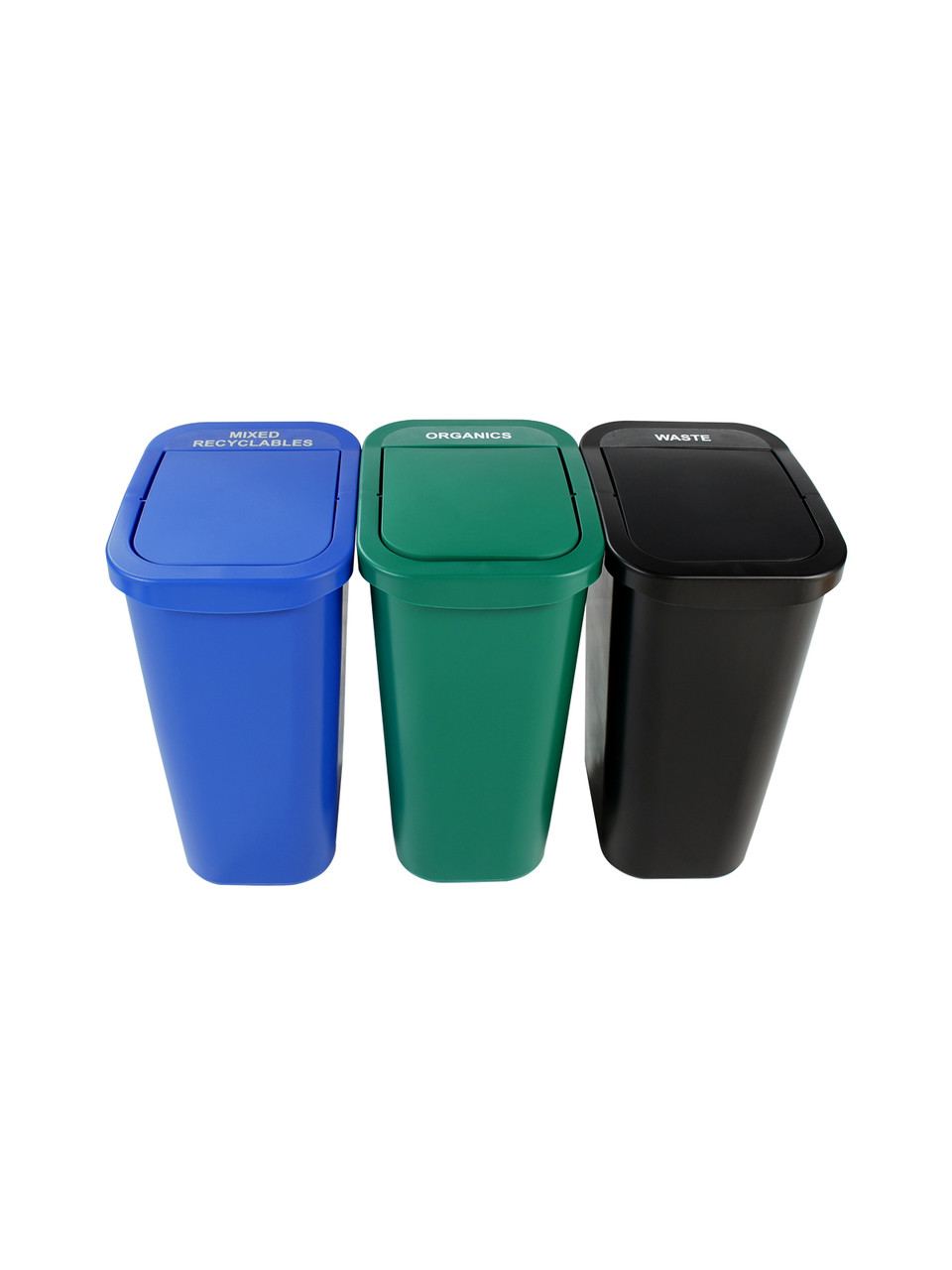 30 Gallon Billi Box Triple Trash Can Recycle Bin Center 8102031-444 (Mixed Swing, Organics Swing, Waste Swing)