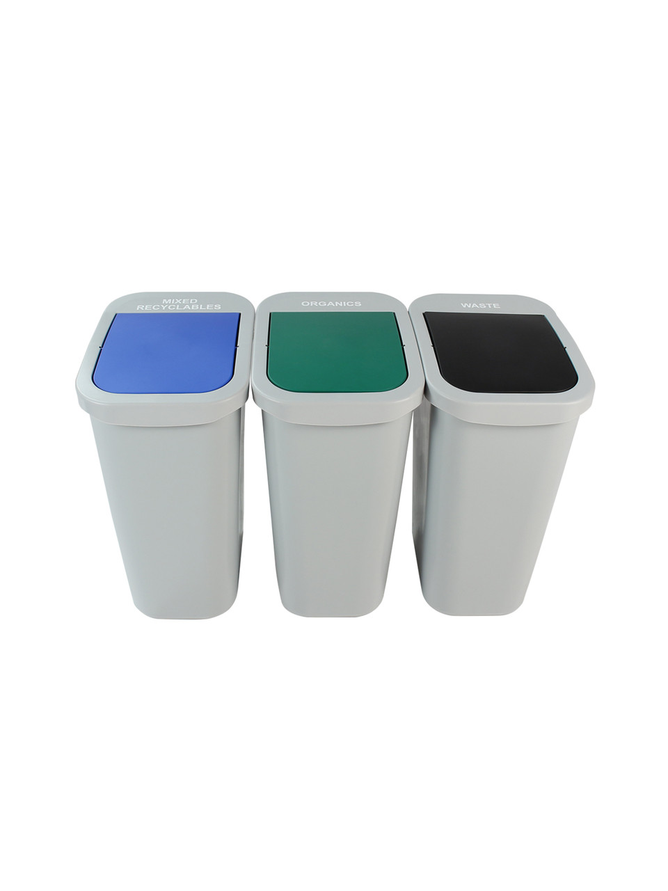 30 Gallon Billi Box Triple Trash Can Recycle Bin Center 8102032-444 (Mixed Swing, Organics Swing, Waste Swing)