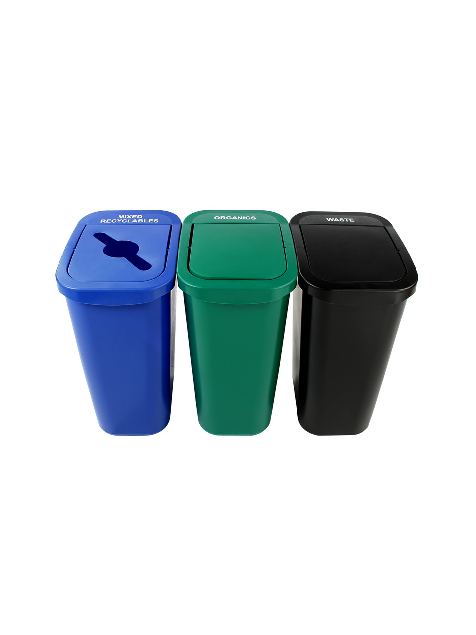 30 Gallon Billi Box Triple Trash Can Recycle Bin Center 8102028-244 (Mixed, Organics Swing, Waste Swing)