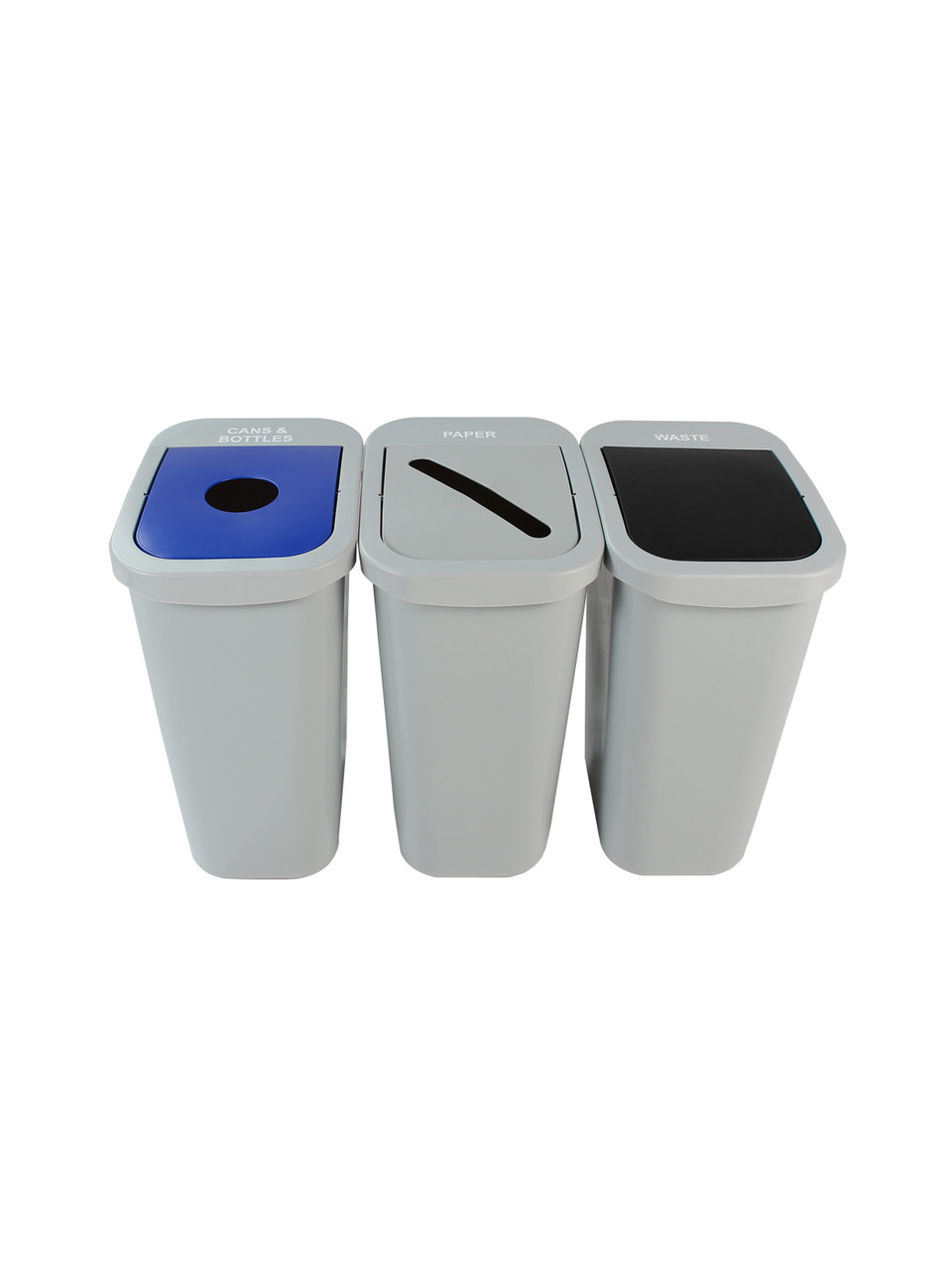 30 Gallon Billi Box Triple Trash Can Recycle Bin Center 8102029-134 (Circle, Paper, Waste Swing)