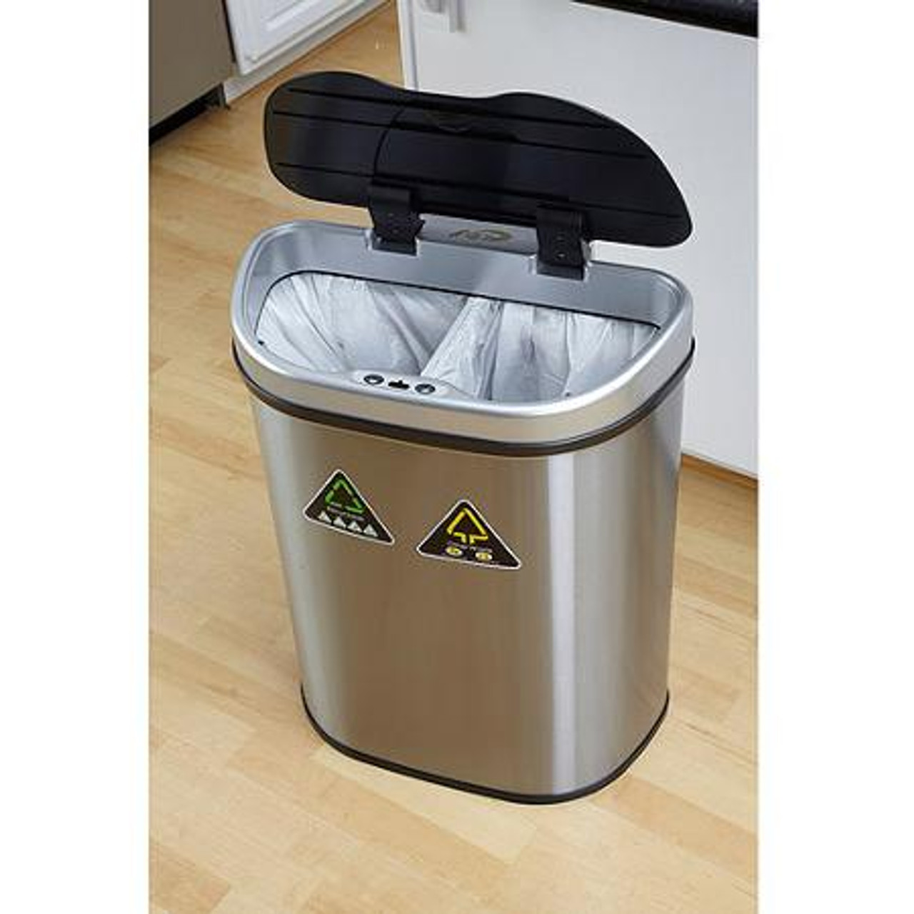 18 Gallon Touchless Automatic Kitchen Recycling Trash Can DZT-70-11R in Kitchen Open