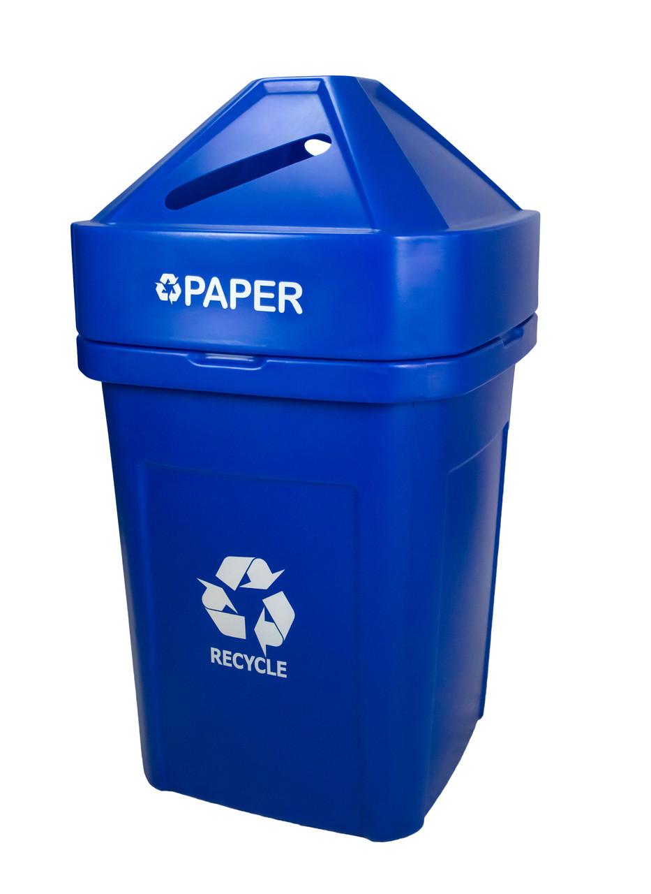 45 Gallon The Burly Indoor Outdoor Recycle Bin 8002819 (Blue, Paper)