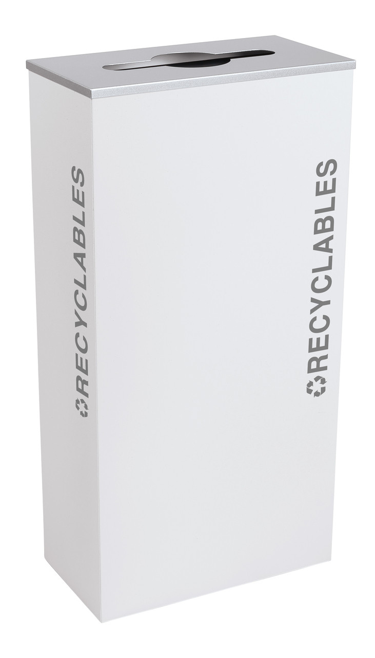17 Gallon Kaleidoscope XL Black Tie Recycle Bin RC-KD17-R-BT-WHT (White, Recyclables)