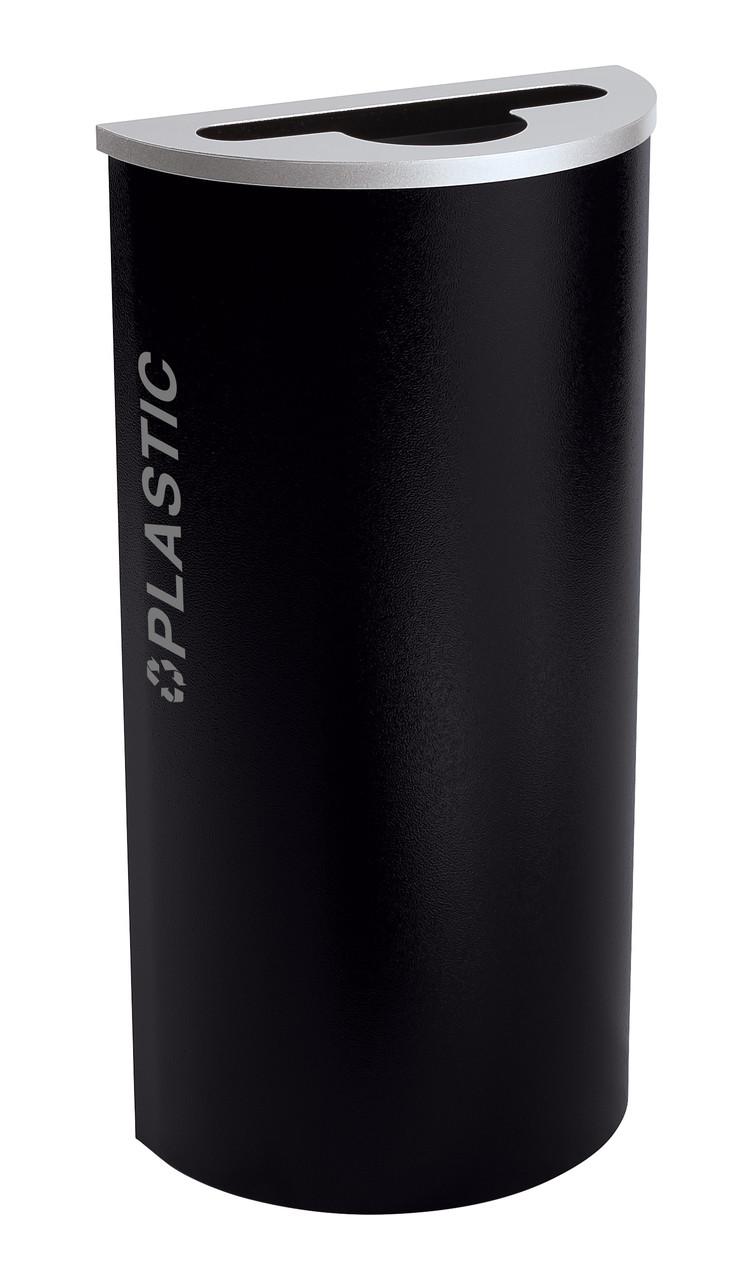 8 Gallon Kaleidoscope Half Round Black Tie Recycle Bin RC-KDHR-PL-BT-PBG (Black, Plastic)