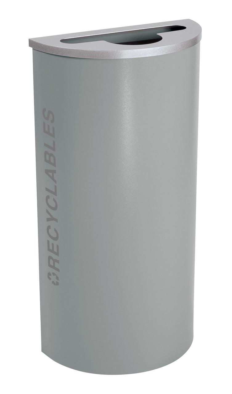 8 Gallon Kaleidoscope Half Round Black Tie Recycle Bin RC-KDHR-R-BT-HMG (Gray, Recyclables)