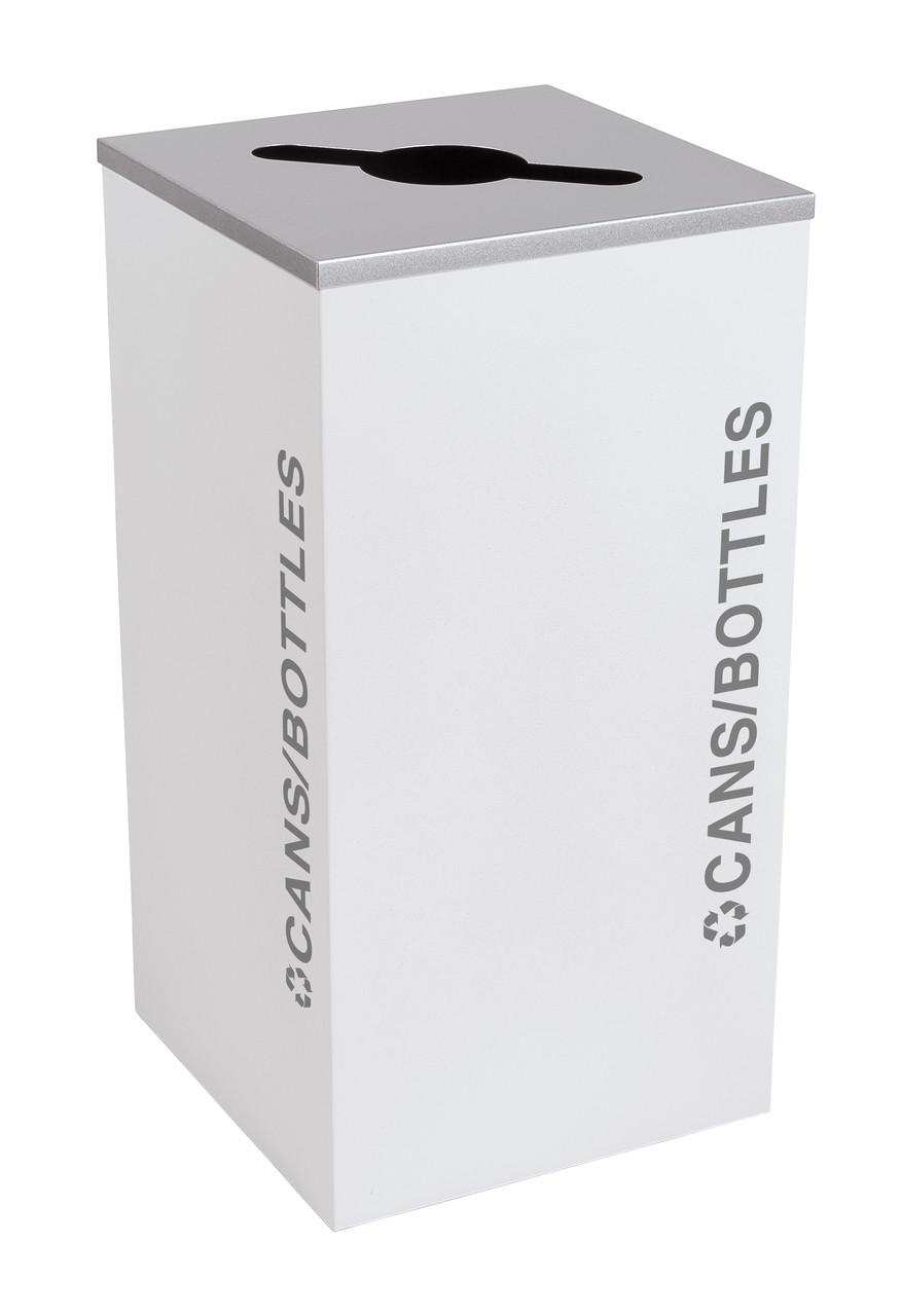 24 Gallon Kaleidoscope Square Black Tie Recycle Bin RC-KDSQ-C-BT-WHT (White, Cans/Bottles)
