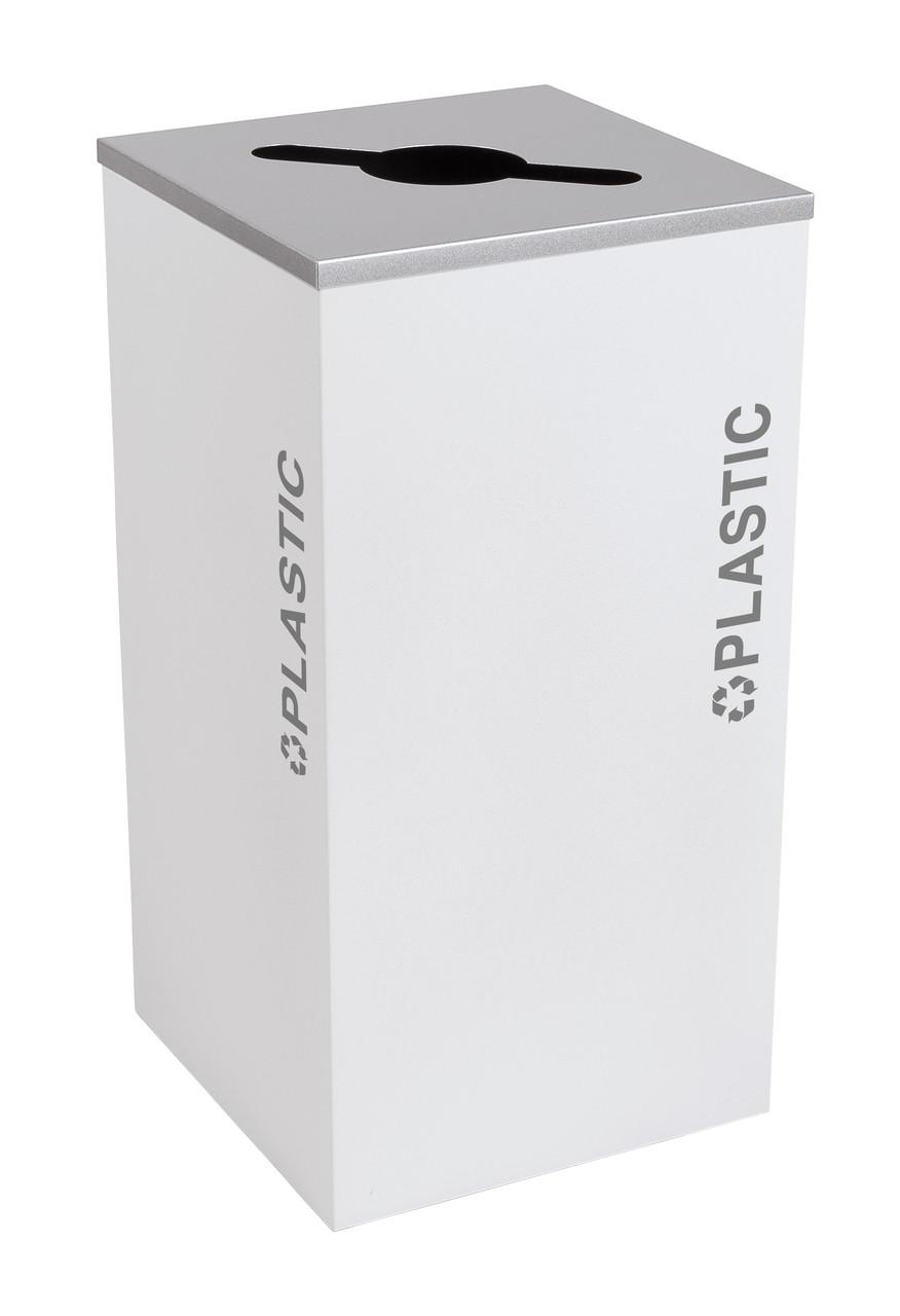 24 Gallon Kaleidoscope Square Black Tie Recycle Bin RC-KDSQ-PL-BT-WHT (White, Plastic)