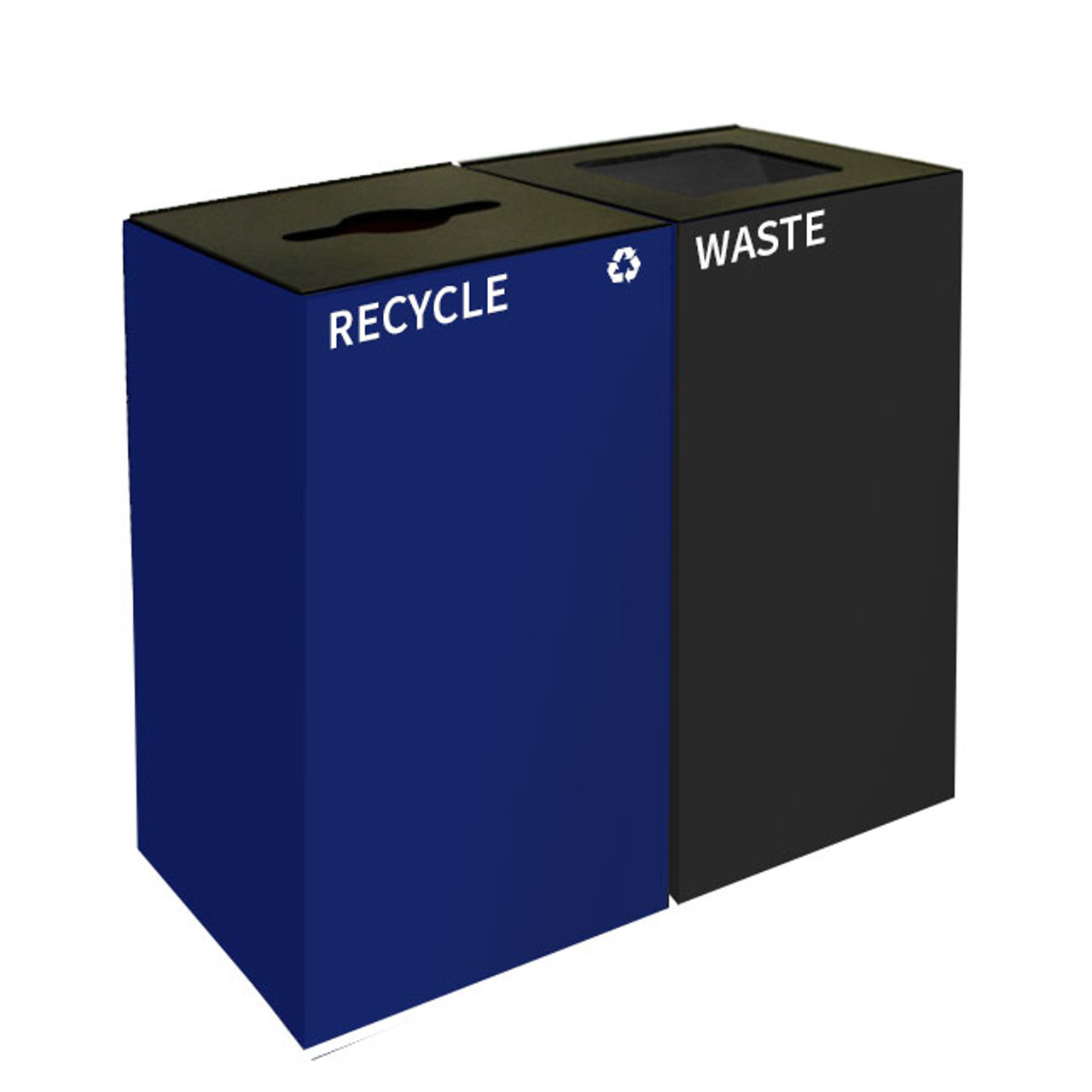 64 Gallon Geocube Double 32GC04-32GC03 Combo Recycling Bin (5 Color Choices)