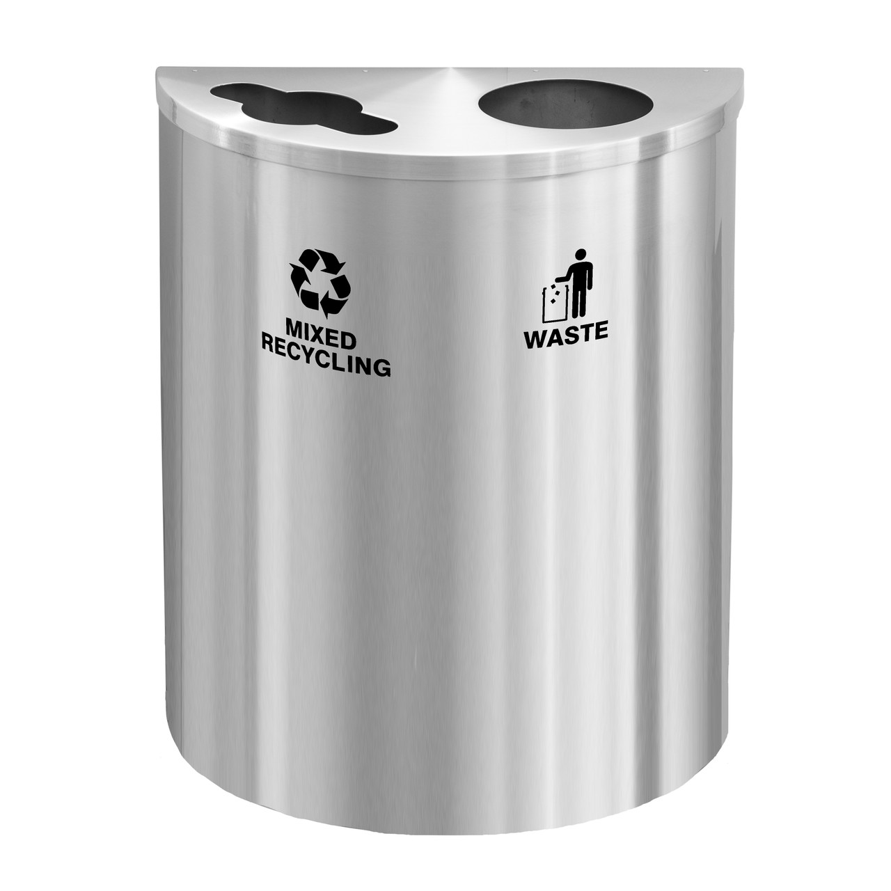 29 Gallon Dual Half Round Recycling Bin w/Hinged Lid MW2499SA (Mixed Recycling/Waste)