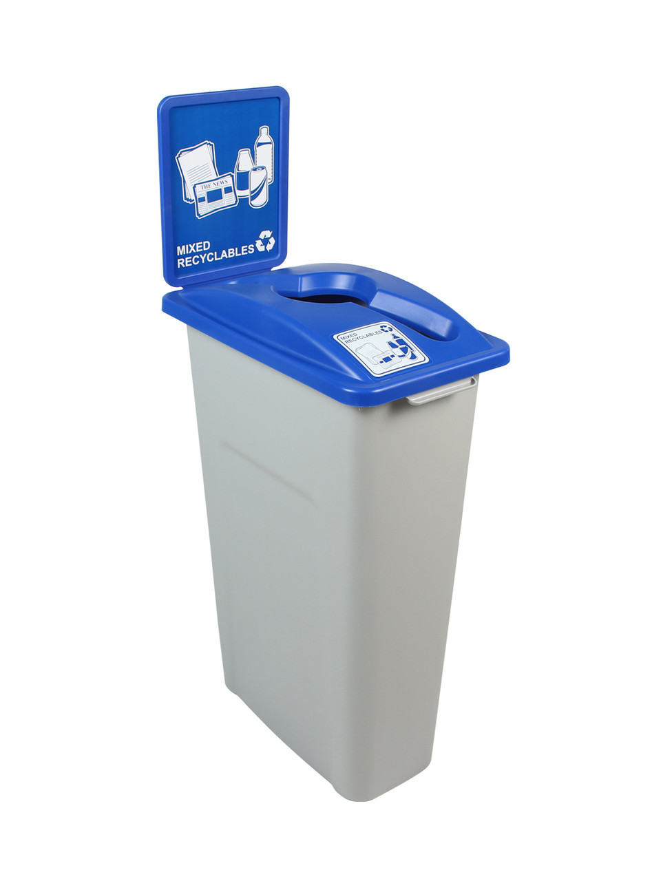 23 Gallon Skinny Simple Sort Recycle Bin with Sign (Mixed Recyclables)