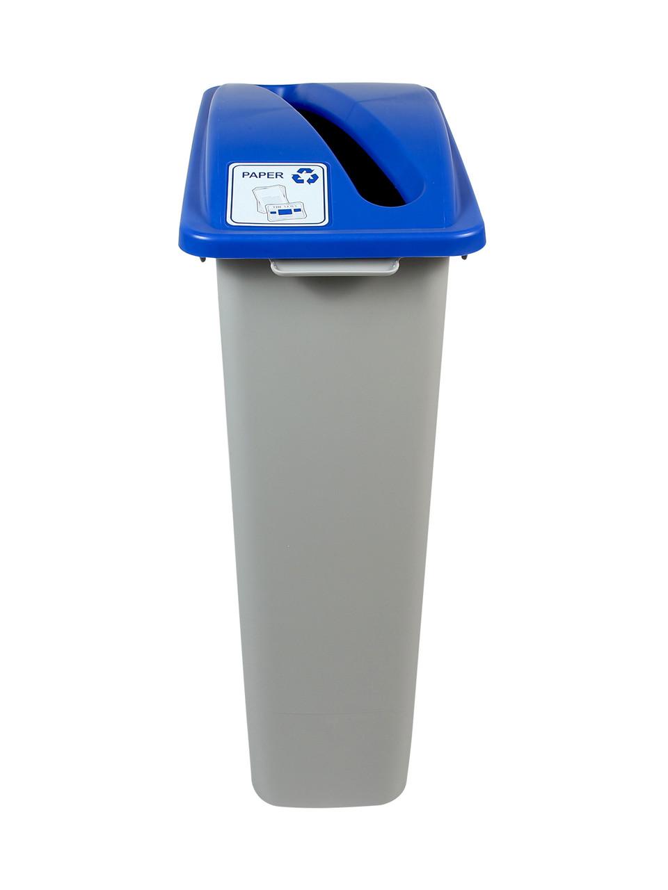 23 Gallon Skinny Simple Sort Recycle Bin Blue Lid
