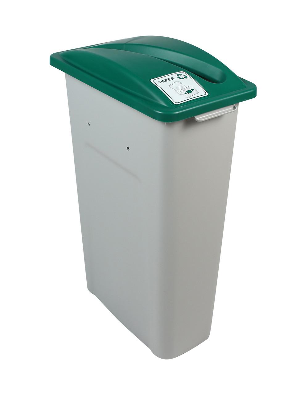 23 Gallon Skinny Simple Sort Recycle Bin (Paper, Green Lid)