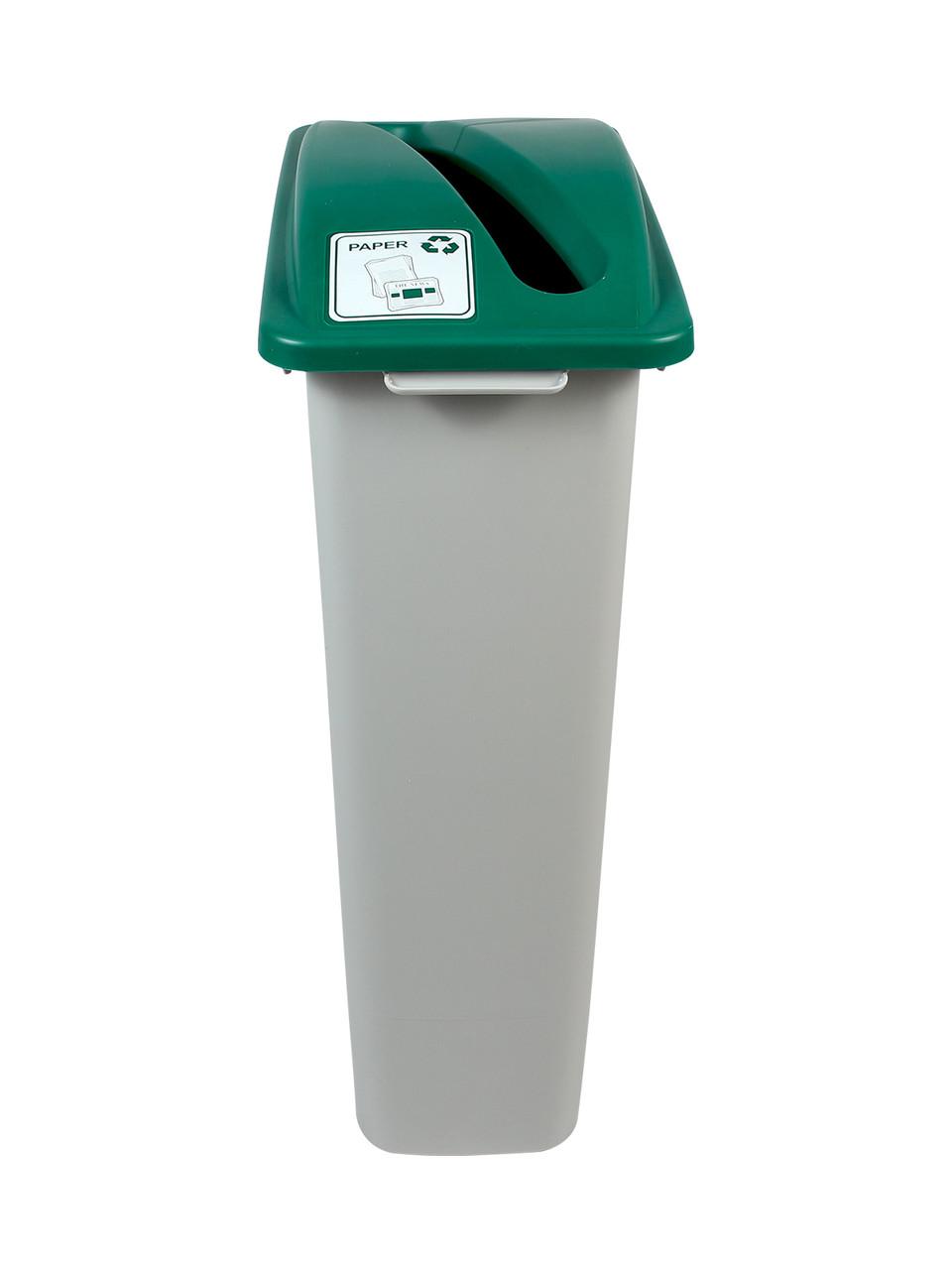 23 Gallon Skinny Simple Sort Recycle Bin Green Lid